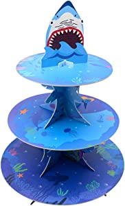 Cardboard Ocean Shark Cake Stands 3 Tire Cupcake stands Mini Cake Stand Reusable Kid Birthday Baby Shower Party Supplies Dessert Stand