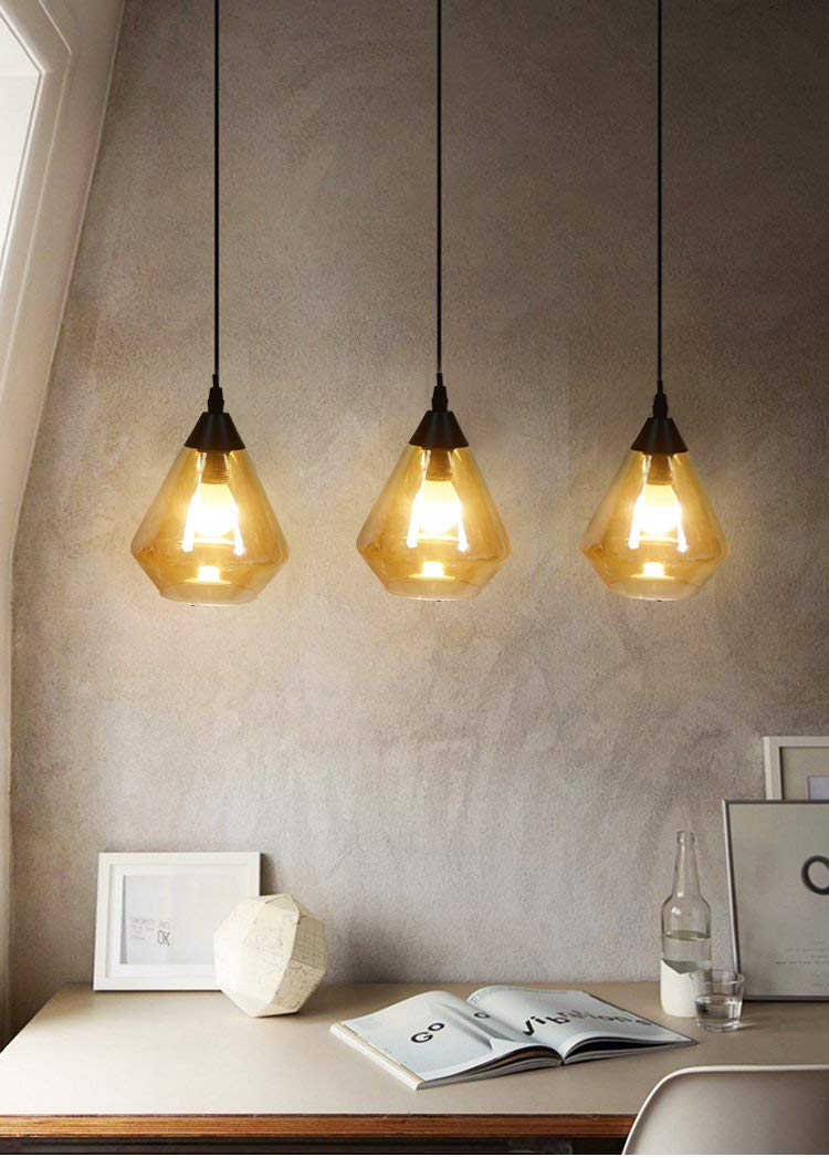 AMUMO Mini Pendant Light Clear Brown Glass Shade, Industrial Modern Chandelier Pendant Lighting Fixture Kit, for Vintage Farmhouse Kitchen Lamp for Kitchen Island, Restaurants, Hotels,Home, 1-Pack