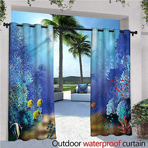 warmfamily Underwater Balcony Curtains Coral Reef Polyps Algae Outdoor Patio Curtains Waterproof with Grommets W108 x L96 (Star Coral Polyp)