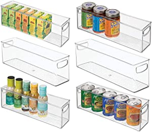 "mDesign Plastic Stackable Kitchen Pantry Cabinet, Refrigerator or Freezer Food Storage Bins with Handles - Organizer for Fruit, Yogurt, Snacks, Pasta - BPA Free, 16"" Long, 6 Pack - Clear"