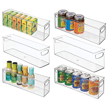 mDesign Plastic Stackable Kitchen Pantry Cabinet, Refrigerator or Freezer Food Storage Bins with Handles - Organizer for Fruit, Yogurt, Snacks, Pasta - BPA Free, 16  Long, 6 Pack - Clear