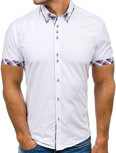 Camiseta de Manga Corta para Hombre Camisas Casual Corte clásico Camisa Costura con Botón Slim Fit Oficina Casuales T-Shirt de Verano Blusa Tops Manga Corta Camisa MMUJERY: Amazon.es: Ropa y accesorios