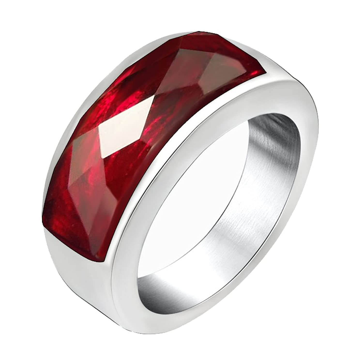 FANSING Jewelry Mens Womens Stainless Steel Rings with Red Stone