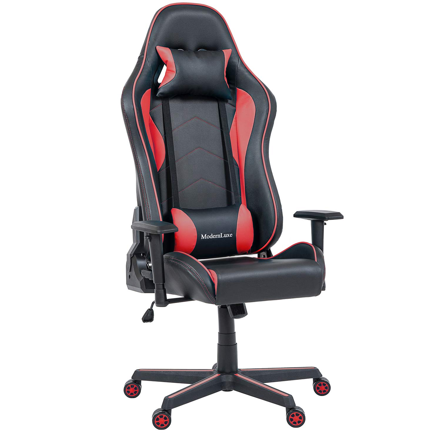 Merax Ergonomic Executive Office Chair High Back Swivel Racing Style Gaming Chair PU Leather with Lumbar Support and Headrest (Light Red/Big Surface)