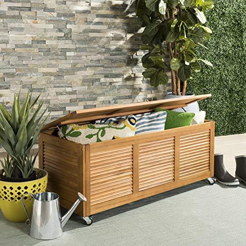 Safavieh PAT7038A Outdoor Collection Elina Teak 47.2″ Cushion Deck Box, Natural