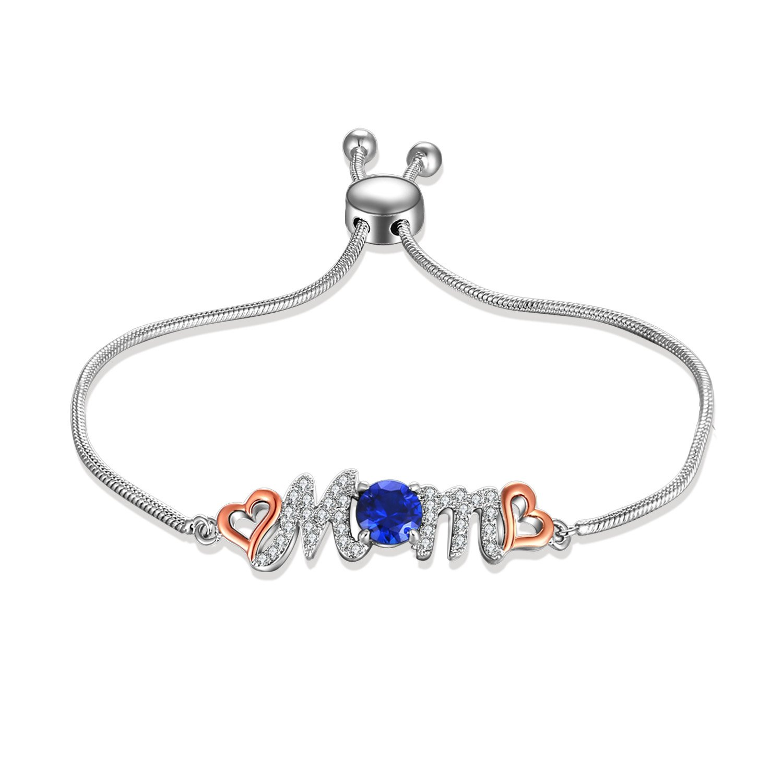 Caperci Sterling Silver Created Gemstone Blue Sapphire Love Mom Bolo Bracelet for Women Mom, 9''