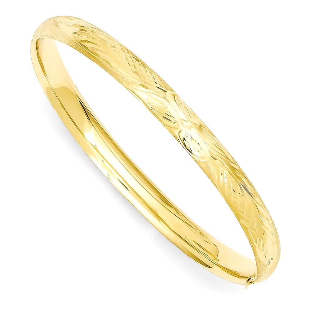 ICE CARATS 14k Yellow Gold Florentine Engraved Baby Bangle Bracelet Cuff Expandable Stackable 6 Inch Fine Jewelry Gift Set For Women Heart