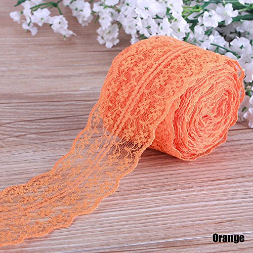 Niome Cotton Lace Ribbon Trim Bridal Wedding Scalloped Edge Crochet Lace DIY Sewing Accessory Collection Orange