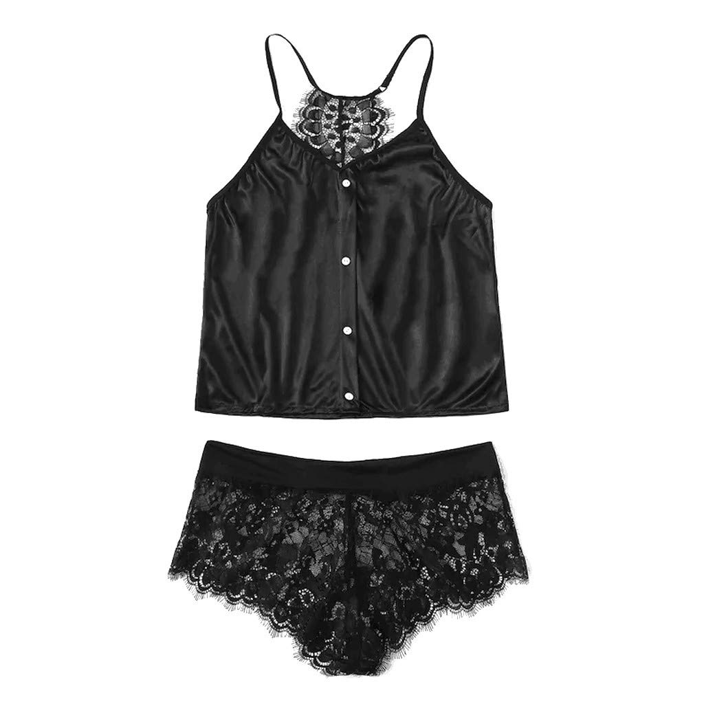 Women Sexy Bralette Tops and Panty Set Floral Lace Lingerie V-Neck Nightwear Underwear Pajamas with Shorts (XL, Black)