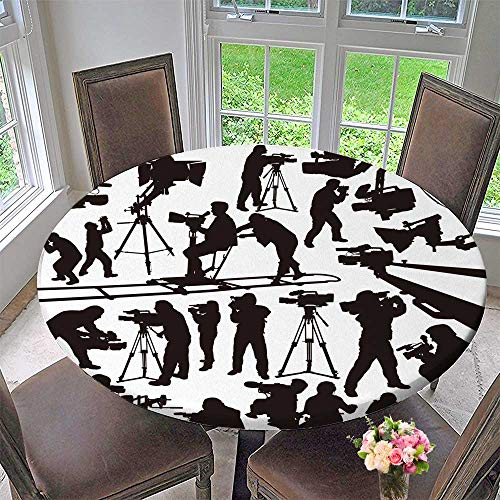 PINAFORE HOME Picnic Circle Table Cloths The Black Silhoutte camcorders and cameramen on White Background for Family Dinners or Gatherings 59