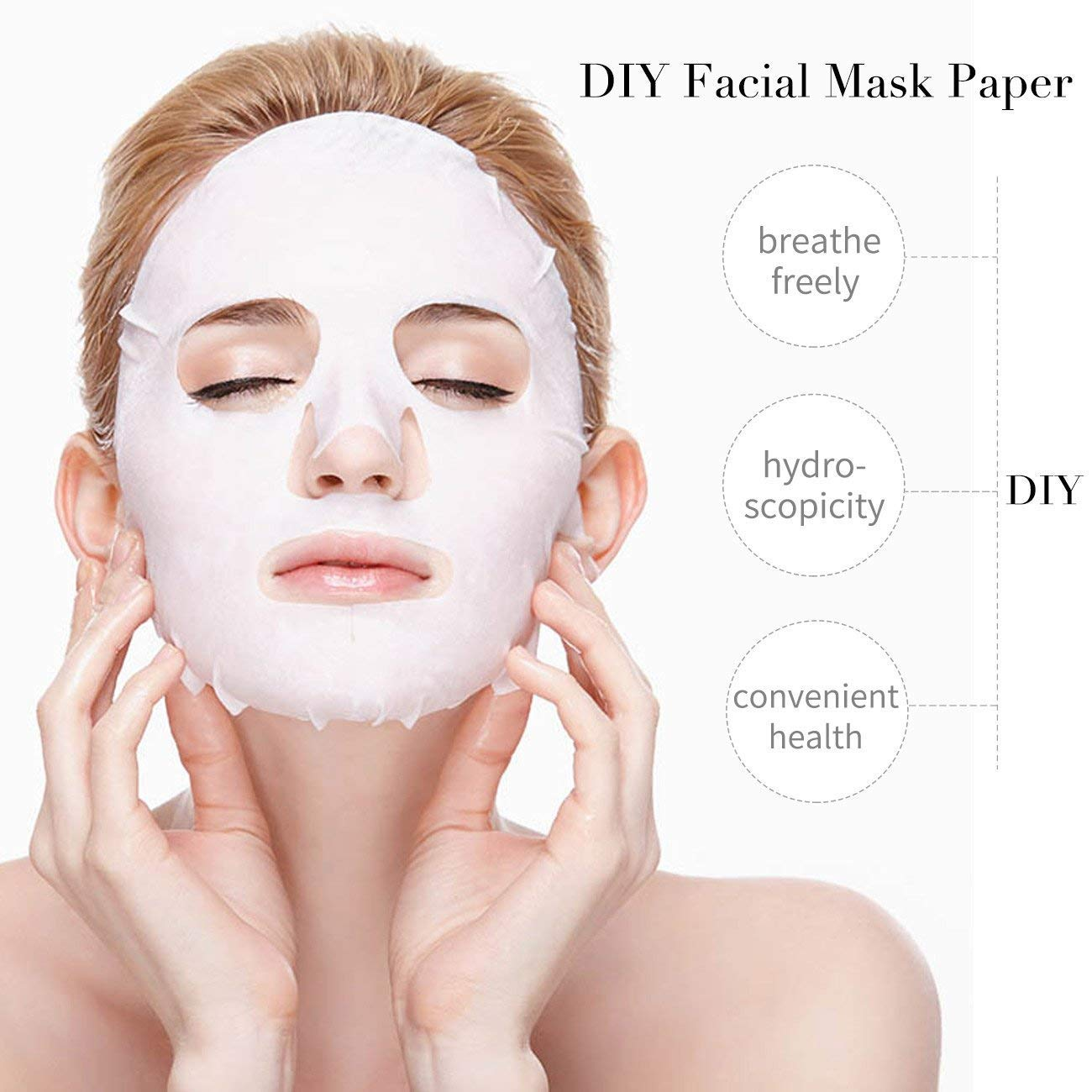 Yousha100Pcs Compressed Facial Mask, Grain Dry Sheet Paper Mask, DIY Natural Face mask sheet Cotton Mask Sheet, With Free Mask Bowl for skin care(100pcs)