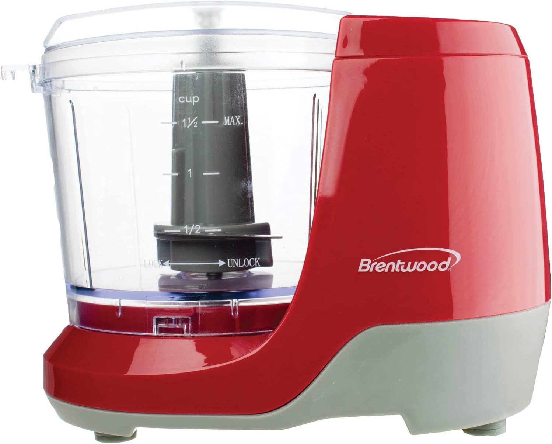 Brentwood MC-109R 1.5 Cup Mini Food Chopper, Red