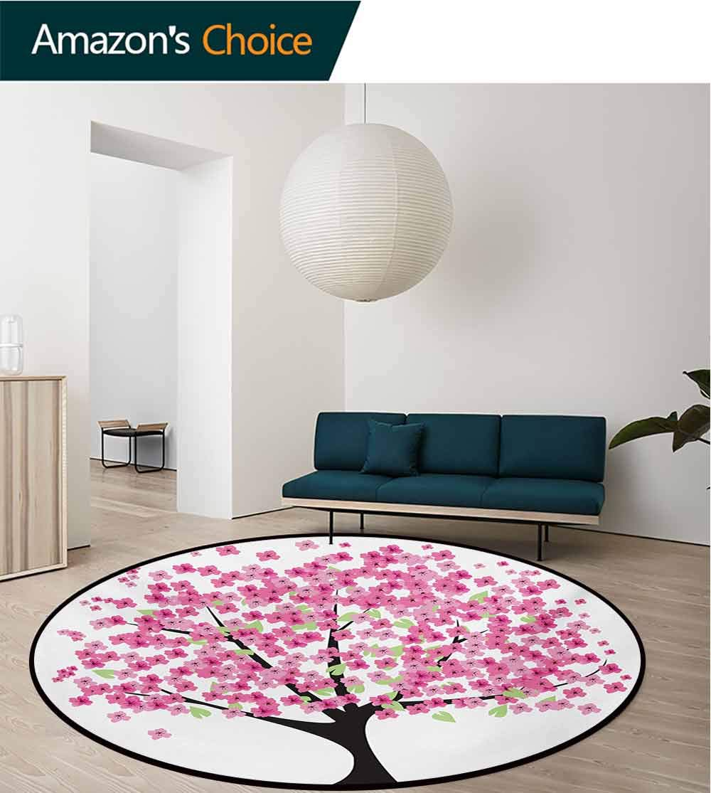 RUGSMAT Nature Computer Chair Floor Mat,Cherry Blossom Lonely Tree Asian Japanese Gardening Theme Sakura Blossoms Printed Round Carpet for Children Bedroom Play Tent,Diameter-71 Inch by RUGSMAT (Image #3)