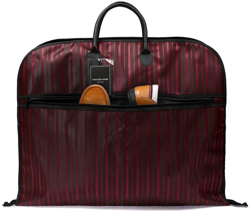 Nornou Foldable Travel Garment Bag Ultra-light Suit Dustproof Bag With Metal Hanging Hook Wine Red