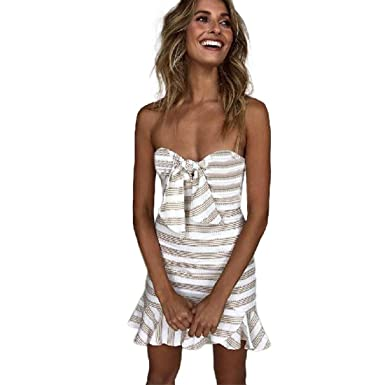 Womens Dresses,Moonuy Girl Stripe Bow Sleeveless Off Shoulder Mini Beach Evening Party Dress Clubwear