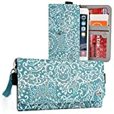 Mint Green/White Paisley Case for Samsung Galaxy Note 5 [Slim Fit] Note II 2, Note III 3, 3 Neo LTE+ Note 4, Note Edge   Universal BiFold Wallet