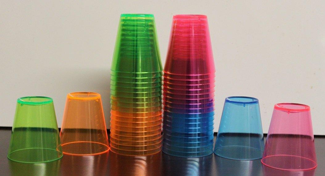 2oz Assorted Neon Shot Glasses - Disposable Drinking Shot Glasses