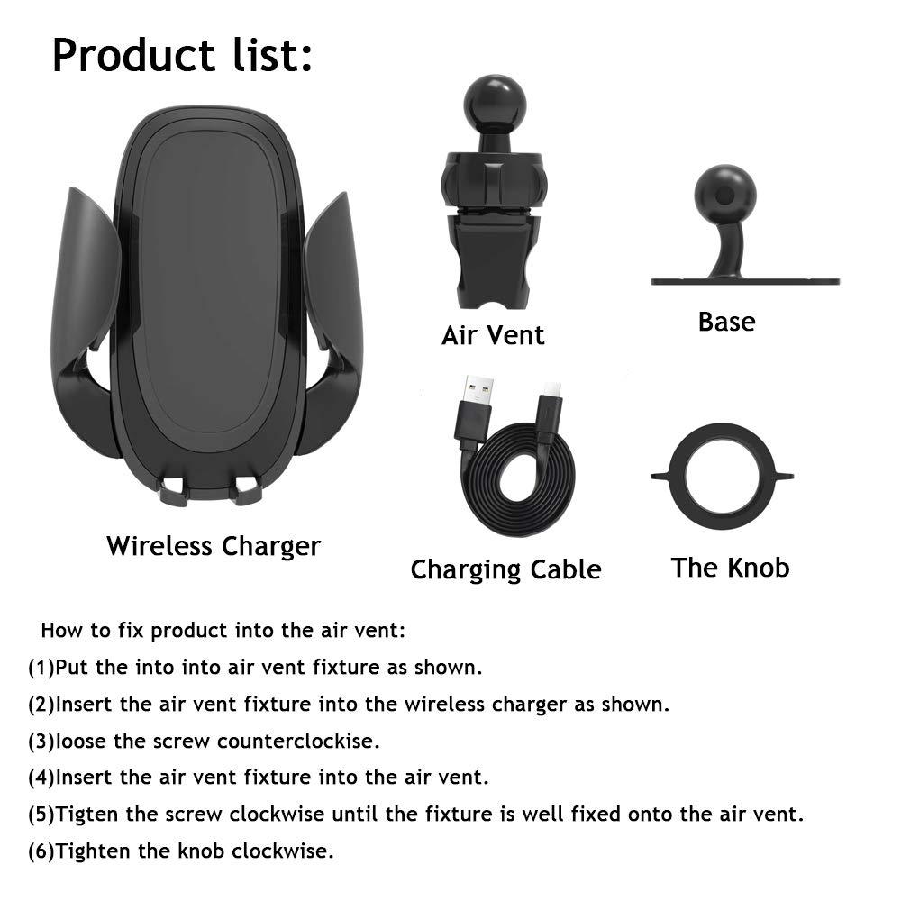 UCMDA Chargeur sans Fil Rapide Voiture, 10W Qi Support Téléphone Voiture Chargeur Auto sans Fil à Induction Réglable pour iPhone XS/XS Max/XR/X/8P/8, Galaxy S9/S9 Plus/S8/S8plus/S7/S7 Edge etc- Noir