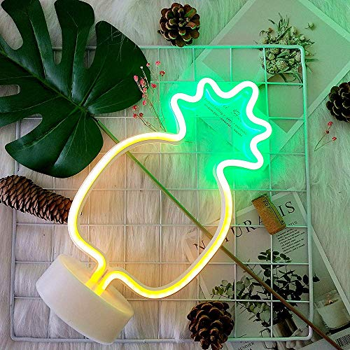 (Pineapple Neon Lights GUOCHENG Decor Light Led Night Light Wall Table Decor Battery Operated Creative Lighting Lamp Home Decoration Party Decoration Gift for Kids(Green Pineapple))