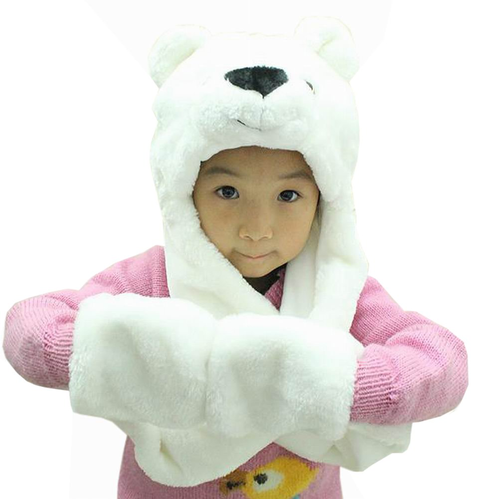 Hee Fly Plush Animal Winter Hats with Paws
