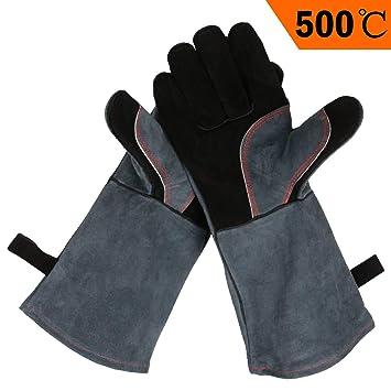 Ozero piel barbacoa barbacoa guantes, 932 °F resistente al calor extremo horno parrilla estufa