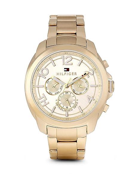 Tommy Hilfiger Serena - Reloj de Cuarzo para Mujer, con Correa de Acero Inoxidable, Color Dorado: Amazon.es: Relojes