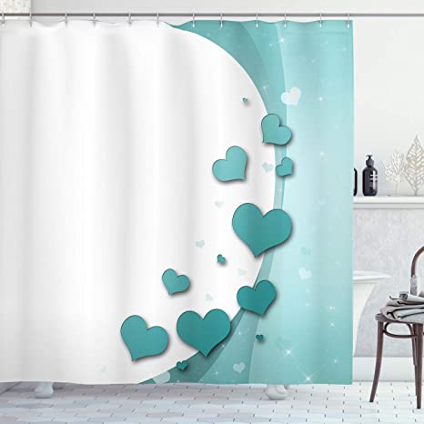 Amazon Com Ambesonne Turquoise Shower Curtain Valentines Day Romance Art With Hearts Stars Wedding Happiness Theme Cloth Fabric Bathroom Decor Set Hooks 70 Long White Home Kitchen