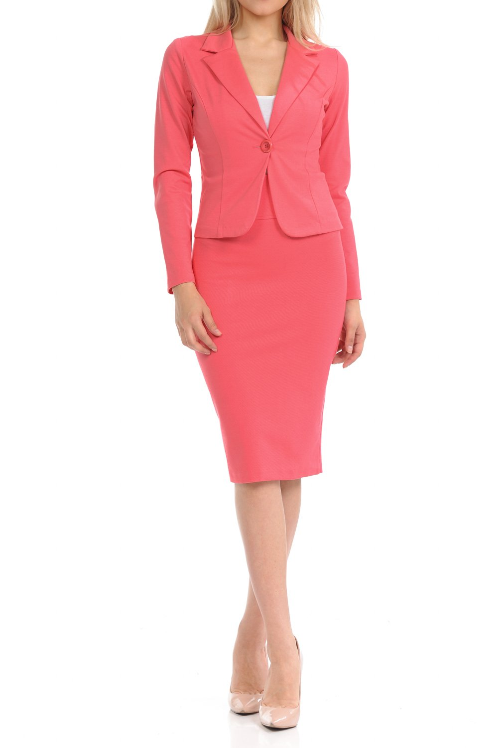 Sweethabit Womens Wear to Work Solid Skirt Suit Set (Small, 3127N-3087N_Pink) by Sweethabit