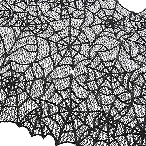Hot Sale!DEESEE(TM)Halloween Polyester Lace Dinner Parties Table Runner Black Spider Web Restaurant -
