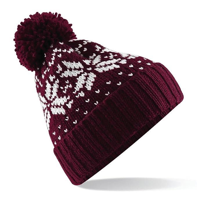 BEECHFIELD berretto cuffia Mod. Fair Isle Snowstar Beanie colore bordeaux  bianco 9d579b302efa