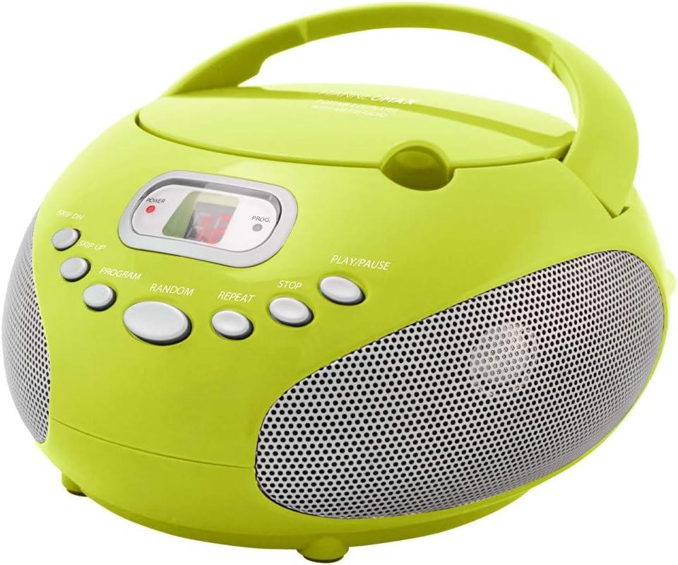 HANNLOMAX HX-322CD Portable CD Boombox with Radio AM//FM Radio Black AC//DC Dual Power Source. Aux-in Bluetooth
