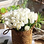 Simulation-Flower-Lotusflower-Artificial-Tulip-A-bunch-5PC-Fake-Floral-Wedding-Party-Home-Decor-White