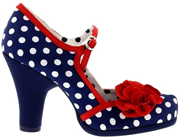 fa88706315f02 Ruby Shoo Womens Hannah Navy Spots Red Blue High Heel Court Shoes:  Amazon.co.uk: Shoes & Bags