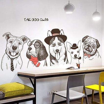 Amazon.com: Fun Cute Hand-Painted Dog Wall Decals Decor Art Peel ...