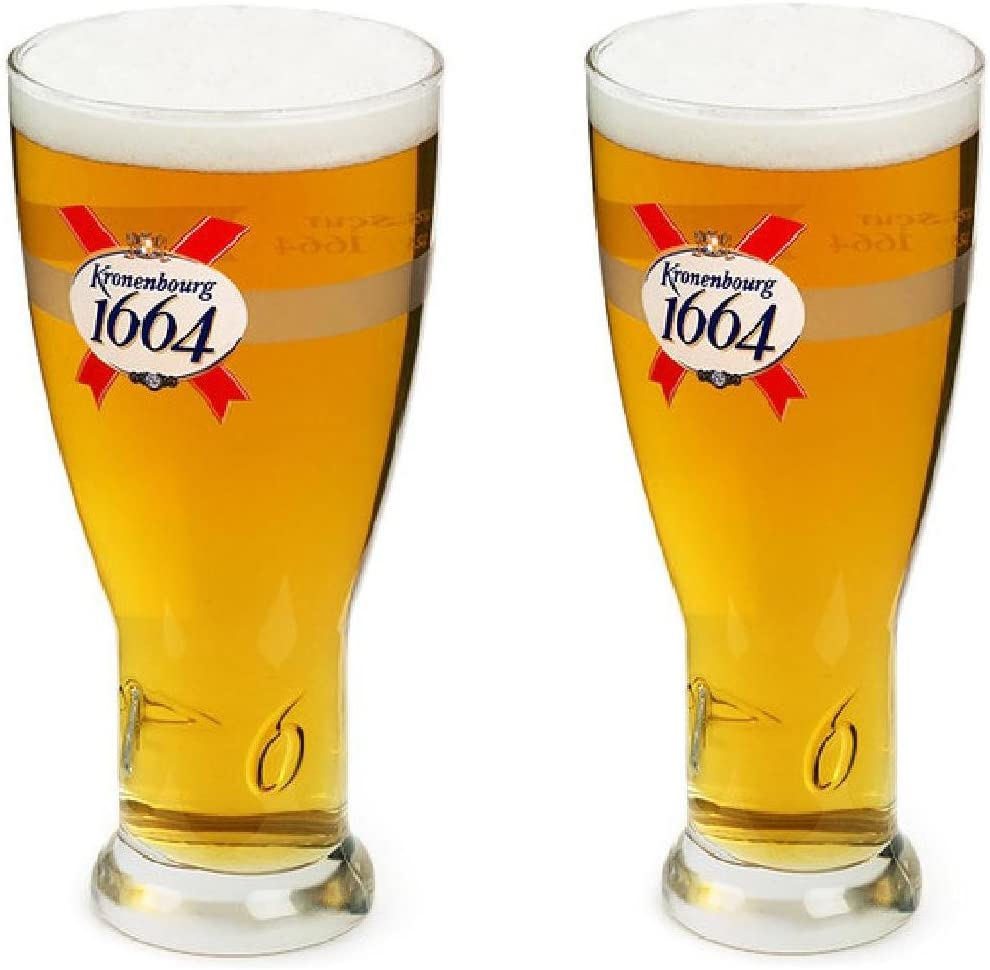 Kronenbourg BLANC Pint Glasses X 2 Brand New Old Stock