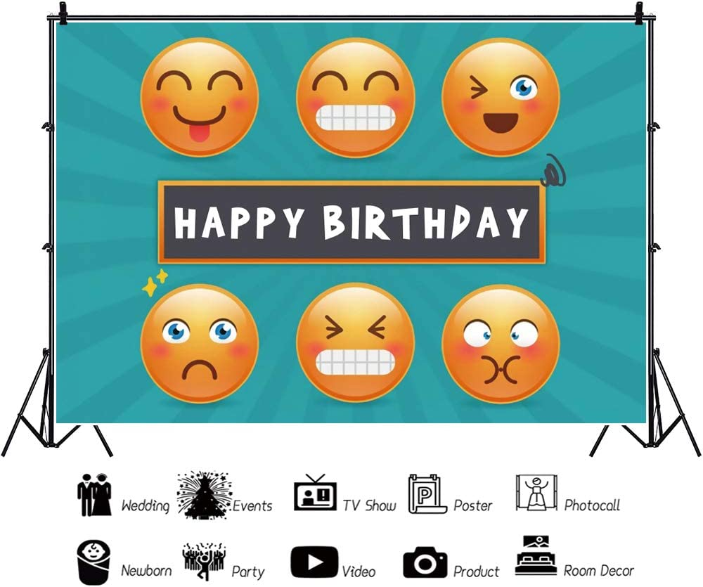 YEELE Smiling Face Backdrop for Photography 10x8ft Kids Birthday Party Background Preschool Baby Infant Artistic Portrait Photo Booth Dessert Table Photo Shoot Studio Props
