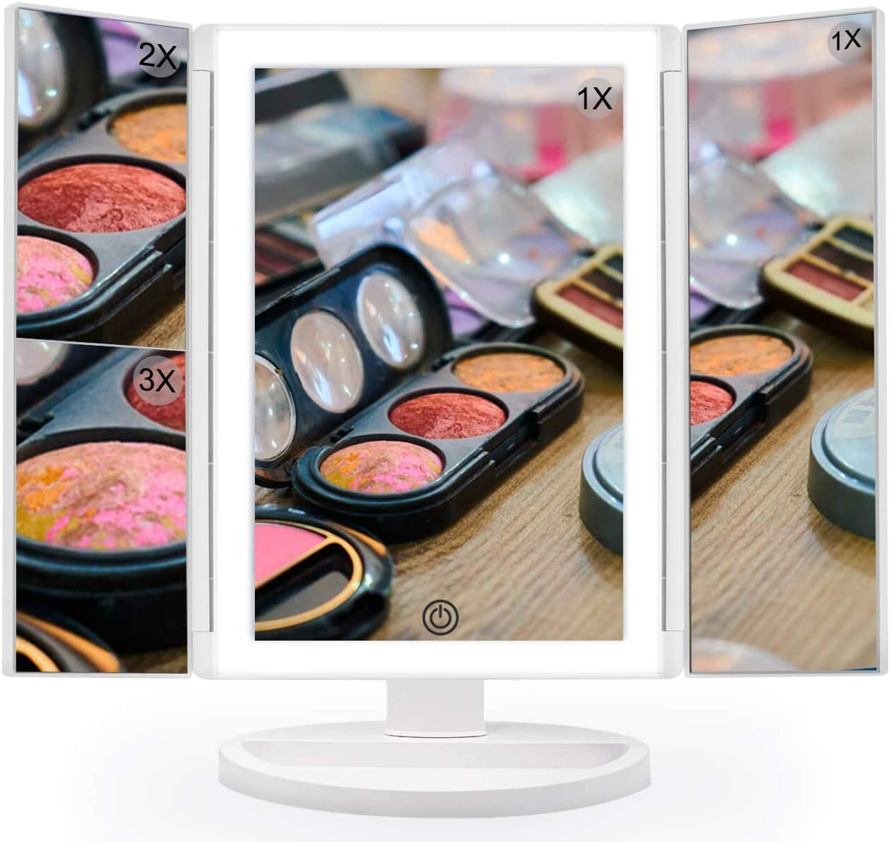 Insun Makeup Mirror Light 3 Color Lighting Modes Touch Screen Vanity Makeup Mirror Led 1X 5X Magnification,USB Rechargeable,360 Degree Rotation Magnet Adsorption Wall Mounted,White Gold