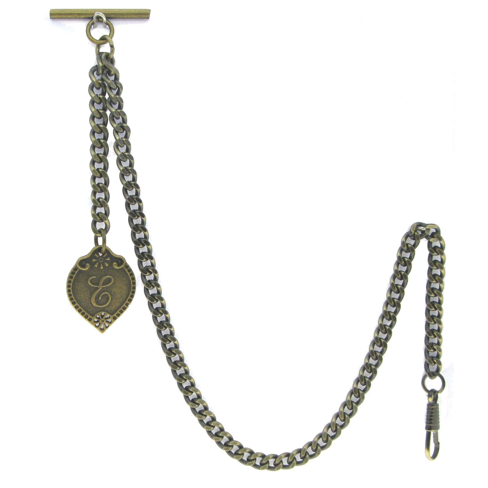 Albert Chain Pocket Watch Curb Link Chain Antique Brass Color + Alphabet E Initial Letter Fob T Bar AC88
