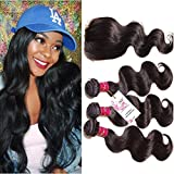 UNice Hair Icenu Series Free Part 1pc 4x4 Lace Closure with Virgin Brazilian Human Hair 3 Bundles Weaves Body Wave Natural Color (18 20 22+16 Free Part)