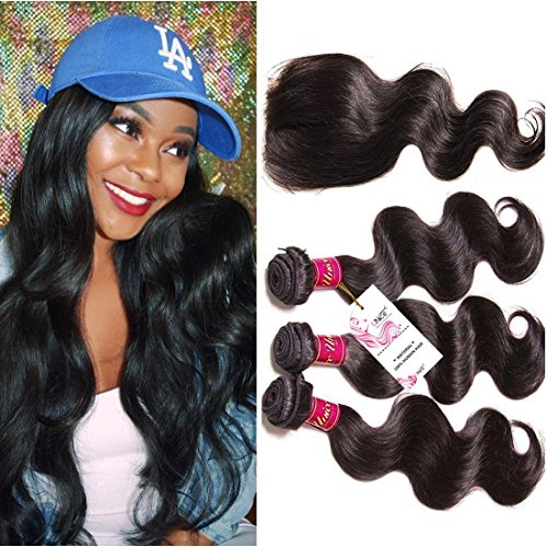 Unice Hair Free Part 1pc 4x4 Lace Closure with Virgin Brazilian Human Hair 3 Bundles Weaves 4pcs Lot Body Wave Natural Color (14 16 18+12 Free ()