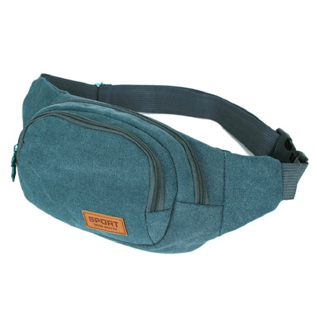 Blue Gilroy Mens Outdoor Sport Canvas Fanny Pack Chest Waist Bag