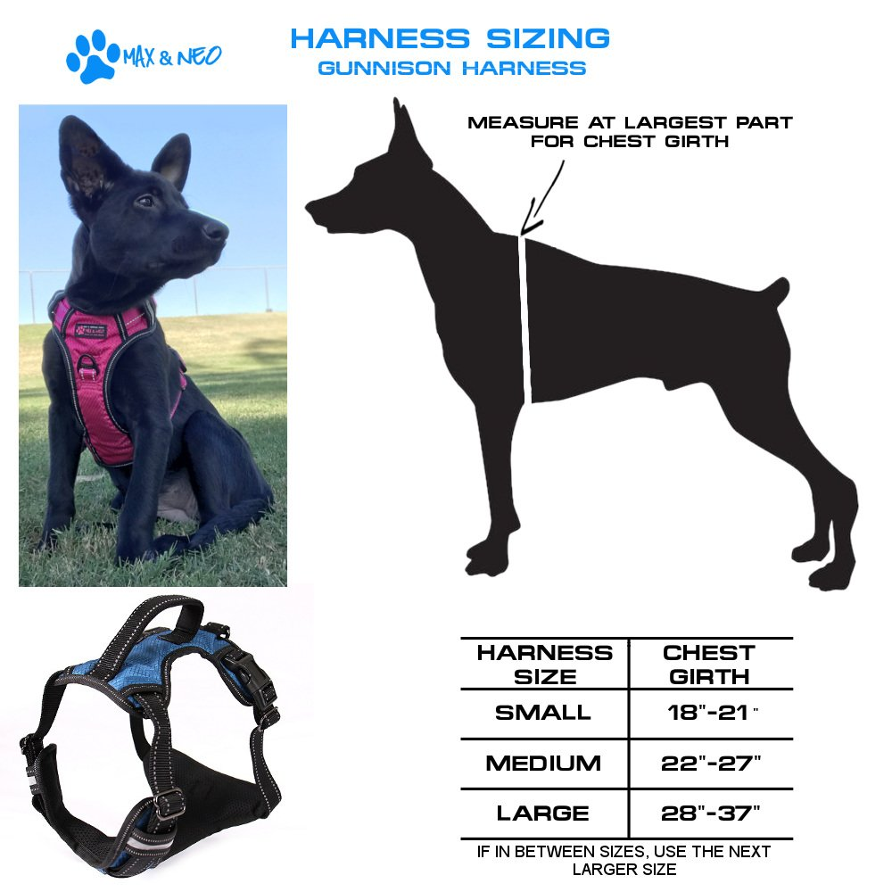 Max and Neo Gunnison Reflective Dog Harness - We Donate a Harness to a Dog Rescue for Every Harness Sold (MEDIUM, BLUE)