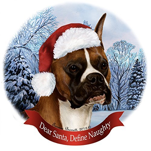 Holiday Pet Gifts Fawn Boxer, Cropped Santa Hat Cat Porcelain Christmas Tree Ornament Picture