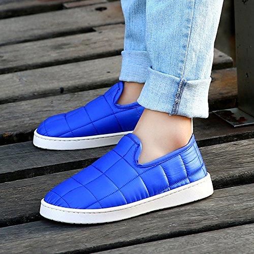 LaxBa Femmes Hommes chauds dhiver Chaussons peluche antiglisse intérieur Cotton-Padded Slipper Chaussures bleu marine38-39 un plus petit