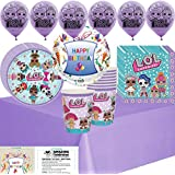 lol Party Supplies Birthday Supplies Decoration Pack - Variety Assortment Bundle of Balloons, Plates, Napkins, Cups, Table Cover and Birthday Tattoo