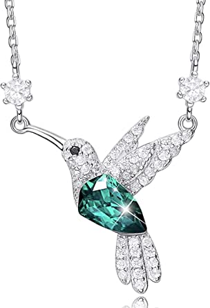 Necklace for Women Hummingbird S925 Crystals Jewelry Gifts for Wife/Mom/Girlfriend for Mother's Day/Valentines Day/Anniversary/Birthday