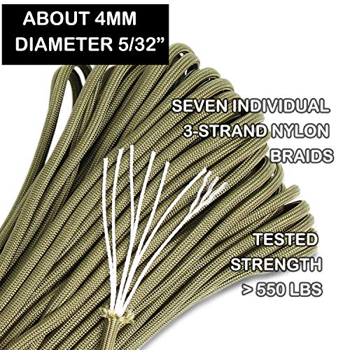 BENGKU Outdoor Survival Mil-SPEC 550lb Paracord/Parachute Cord(MIl-C-5040-H),100Feet,100% Nylon. (Olive Green, 100.00) by BENGKU (Image #1)