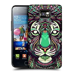 AIYAYA Samsung Case Designs Tiger Aztec Animal Faces Protective Snap-on Hard Back Case Cover for Samsung Galaxy S2 II I9100