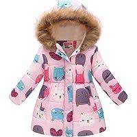 7c658c363 Miss Bei Girl's Kids Toddler Winter Flower Print Parka Outwear Warm Cotton  Coat Hooded Jacket