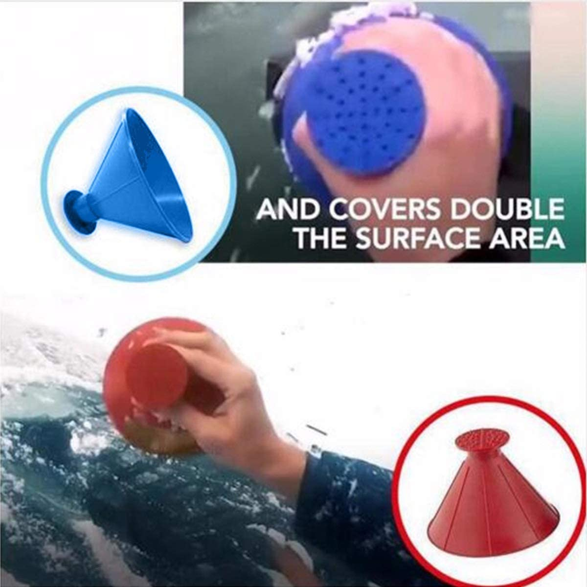 Color : Red Outdoor Funnel Car Windshield Magic Snow Remover Cone Shaped Ice Scraper Car Tool